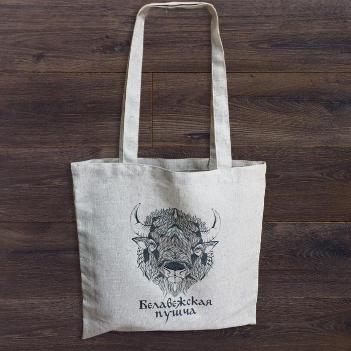 Льняная сумка - зубр